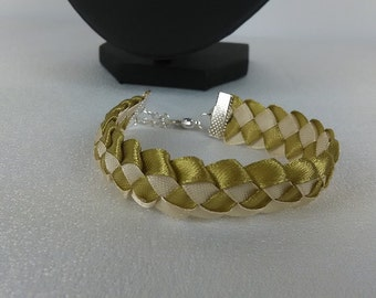 Man braided gold and beige/Ribbon satin bracelet