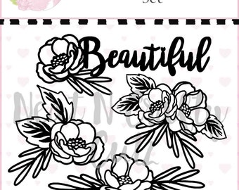 Beautiful blooms set cutfile . For scrapbooking and paper crafting