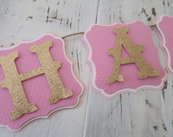 Happy Birthday Banner, FREE US SHIPPING, Pink and Gold Birthday, Party Decorations