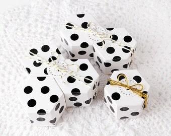 10 mini dot hexagon boxes, favor boxes, gift boxes, wedding favor boxes, mini boxes, accessory boxes, bridal shower favor, baby shower favor