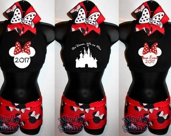 Custom Minnie Mouse - Wacki Set - Cute Minnie Bra, Bow and Wacki shorts Set