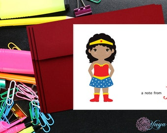 Custom Superhero Notes / Custom wonder woman Stationery / African American Girl Stationery Set / Girl Thank You Cards / Set of 12 Kid Notes