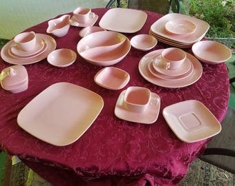 Pink Melmac dinnerware set mixed vintage