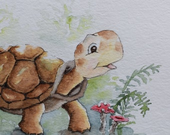 Little Box Turtle Forest Ground Watercolor Handpainted Card- Original or Prints