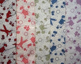 Kids Playing by Michael Miller Fabrics - Quarter Yard Bundle - 5 pieces