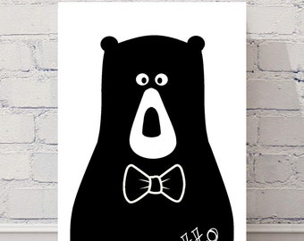 Personalised Nordic Scandi bear print ready to frame, kids nursery, bedroom, playroom black white