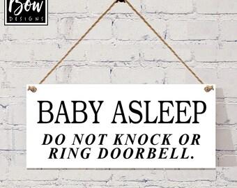 BABY asleep do not knock or ring doorbell do not disturn sign plaque new baby