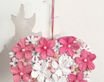 A hanging floral heart decoration, wedding decor, wedding favours, thank you gift, love token, home decor