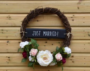 Handmade floral wreath, wedding flowers, just married sign, wedding wreath, vintage wedding, wicker wreath,  wedding sign, wedding decor