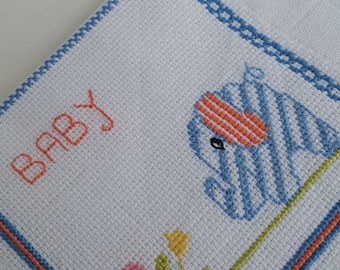 Baby boy burp cloth, 100% Cotton, traditional Portuguese diapers, Shower gift, handmade, needlework, stroller blanket, Bath and Beauty, Baby