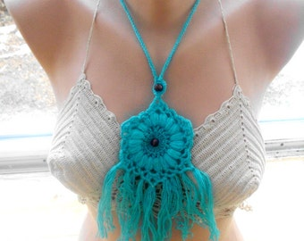 crochet lariat scarf, crochet scarf, , crochet flower scarf, crochet necklace, scarves for her