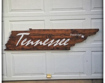 Tennessee Wood Cutout Wall Hanger - City State - Wall Decor - Rustic