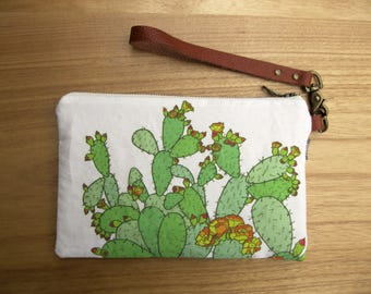 Prickly Pear Cactus Fabric Clutch - Zipper Pouch, Brown Leather Detachable Strap. Bridesmaid Gift, Gift for Her. Succulent Cactus Print Bag