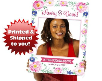 Floral Wedding Photo Booth Prop Frame Sign - Bridal Shower - Anniversary - Family Event - Baby Shower - Graduation - Engagement - Party