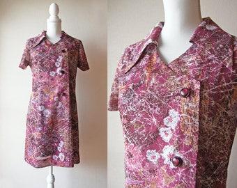 Japanese Vintage Dress / Vintage 1960's Handmade Dress / Handmade Lilac Short Shift Summer Dress