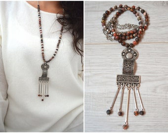Ethnic Tribal African Style Beaded Necklace,  Long Bohemian Silver Engraved Flower tassel necklace,  Free people style jewelry