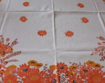 """Vintage Linen Tablecloth Orange Floral Print 46"""" x 49"""""""
