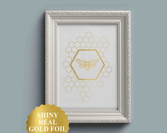 Bee Art Print, Bee Honeycomb, Gold Bee Art, 5x7, 8x10, Gold foil Art Print, Gold foil Wall Decor, Bee Print, Bedroom Wall Art, Wall Decor