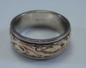 """14K Yellow and White Gold Wedding Band 5/16"""" Wide, size 8.25"""