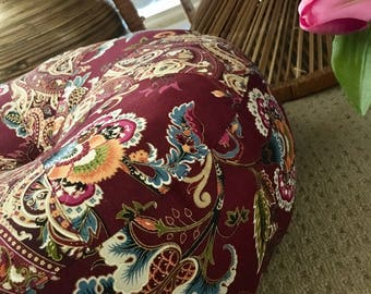 Unfilled 18 Inch Diameter Bohemian Chic Floor Cushion Cover,  Made in Australia, Ottoman, Meditation Cushion, Pouffe, Boho Pouf, Free Spirit
