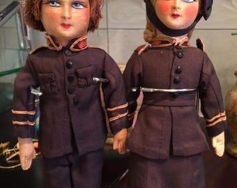 Reduced  Circa 1920 Antique Boudoir Dolls Vintage Salvation Army Cabinet Size