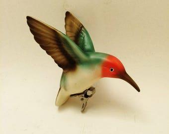 Bisque Hummingbird, Vintage Bisque Bird, Japan Bisque Porcelain Bird with Clip