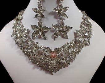 Sparkling Flower Diamante Statement Necklace and Earrings (2293)