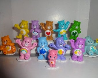 Mister A Gift CARE BEARS cake toppers 12 plastic figures