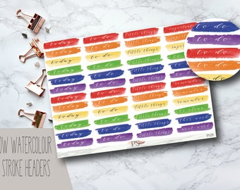 Watercolour Rainbow Brush Stroke Header Planner Stickers | Today To Do Little Things | Erin Condren Happy Planner Bullet Journals Bujo