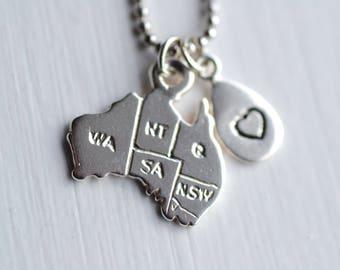 Australia Pendant/ Australia Necklace/ Silver necklace/ Australia Map Necklace/ Australia Jewellery