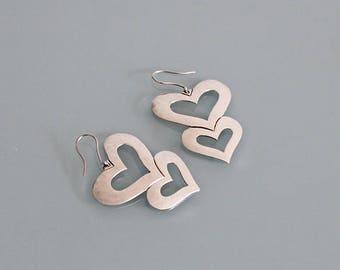 Vintage Sterling Silver Big Heart Earrings, Sterling Silver Heart Earrings