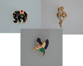 Vintage Hummingbird Brooch, Elephant Brooch, Cat Brooch, Rhinestone Animal Brooch