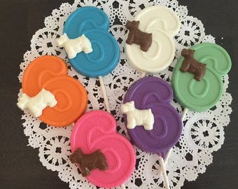 NUMBER SIX DOG Chocolate Lollipops(12 qty) 6th Birthday,Birthday Favors,Number 6 Lollipop,Dog Birthday,Party Favor,Dogs,Puppy,Sixth Birthday