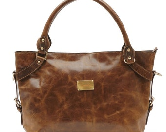 Stylish Italian Full Grain Leather Ladies Tan Shoulder Handbag FREE EXPRESS DELIVERY