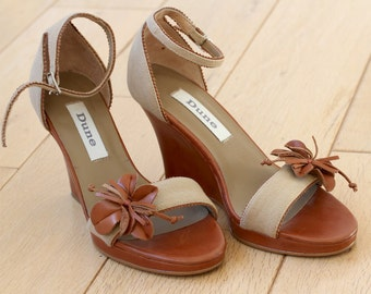 DUNE Cute Canvas Leather Wedges Summer Sandals, Brown Leather Sandals, Canvas Summer Sandals size International Size 36