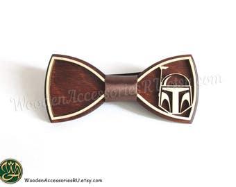 Wood bow tie Boba Fett wooden Star Wars bowtie storm trooper darth vader empire jedi jango fett marvel comics Attack of Clones bounty hunter