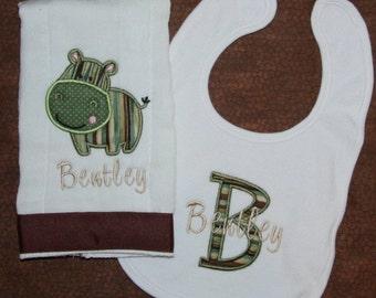 Custom appliqued  hippo burp cloth and coordinating baby bib