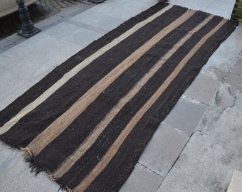 "Long Runner,Handwoven Turkish Stripe Rug,Turkish Long Runner Rug,255 x 140 cm  8'.3"" x 4'.6"" ft,Woven Kilim,Decorative ANTİQUE kİlim Rug"