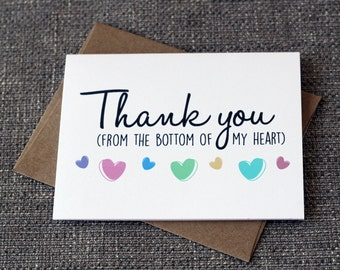 Thank You From The Bottom Of My Heart Cute Thank You Greeting Card