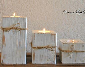 Wood Block Tealight Candle Holders, Rustic Candle Holder, Distressed Tealight Holder, Wood Candle Holder