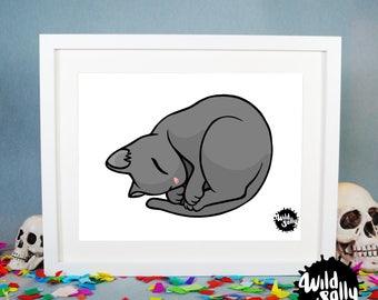 Sleeping Cat print (white background) / Lámina Sleeping Cat (Fondo blanco)