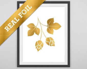 Beer Hops Print #2: Hops printed in Real Gold Metallic Foil - Drinks - Summer - Beer - Brewing Prints - Good Times and Fun