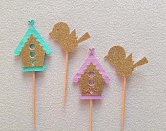 Set of 12 Bird house and Birdie- nesting baby shower- Bridal shower theme- birdie baby shower- love bird bridal shower
