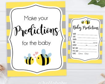 Predictions For The Baby - Yellow Bumble Bee Baby Shower Games - Yellow Baby Shower - Bumble Bee Baby Shower - 007