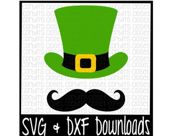 St Patricks Day SVG * Top Hat and Mustache * Leprechaun Cut File - SVG, DXF Files - Silhouette Cameo, Cricut