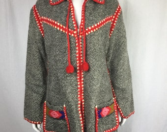 Vtg 70s woven ethnic embroidered mexican jacket coat greek