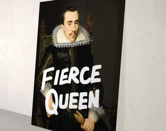 Large Black and White Fierce Queen Canvas Art Print | Eclectic Modern Contemporary Punk Cool Funky Pop Art Wall Decor