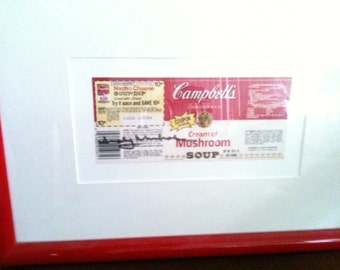 Campbels Soup Label Signed by Andy Warhol original one YEAR before his death