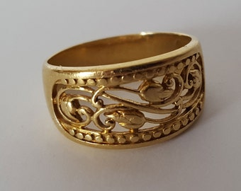 18k Yellow Gold Ring, Size 5 3/4, Floral Filigree, Signed AK Turkey