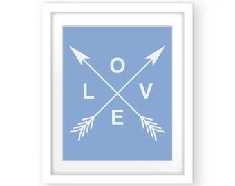 Nursery Prints Boy, Love Arrow, Blue and White Prints, Nursery Wall Art, Blue Print Art, Nursery Boy Decor, Printable Art, Love Wall Art